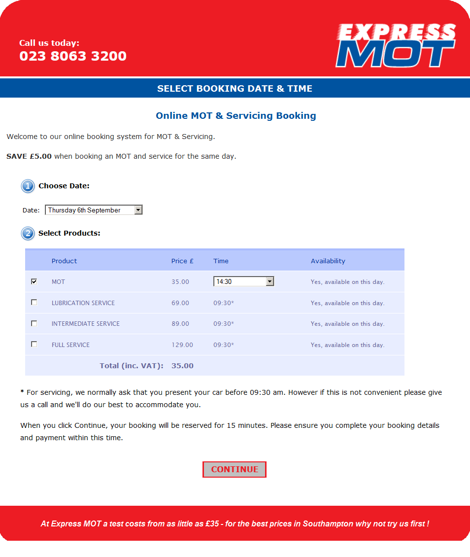 Our online booking system is used by Express MOT in Southampton
